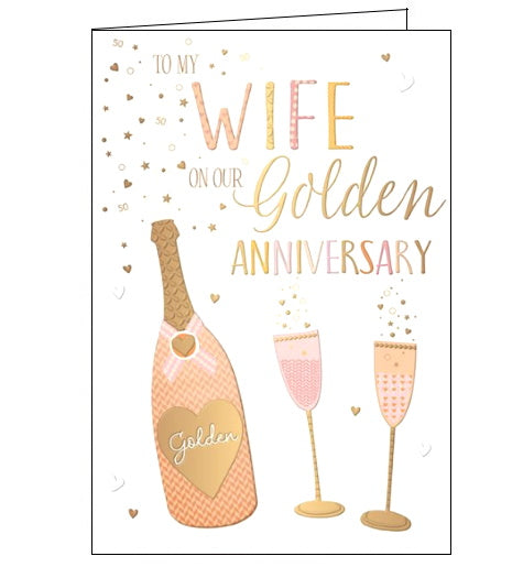 Words 'n' Wishes wife on our golden wedding anniversary card Nickery Nook