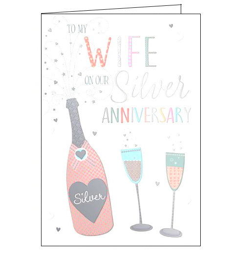 Words 'n' Wishes wife on our silver wedding anniversary card Nickery Nook