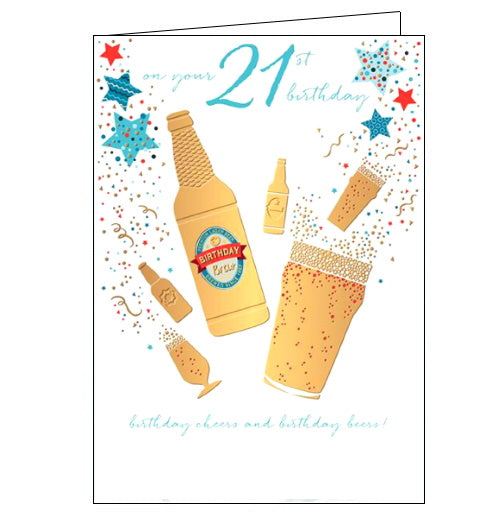 Words 'n' Wishes beers 21st birthday card