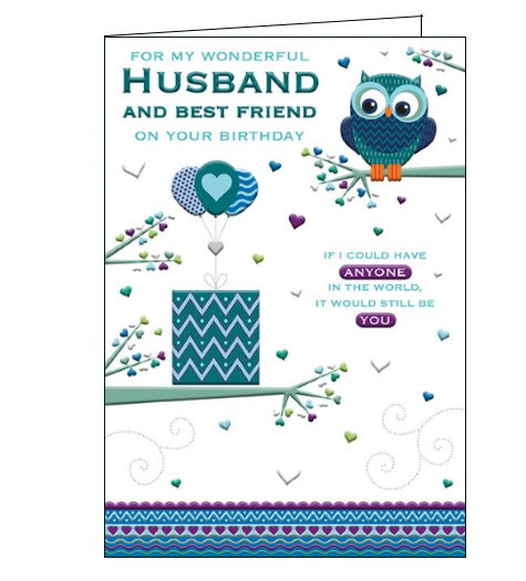 Words 'n' Wishes best friend and husband birthday card