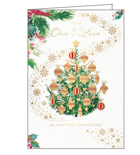 This special Christmas card for the One I Love is decorated with a Christmas tree hung with large red and metallic gold baubles. A swirl of golden hearts and snowflakes surrounds the tree. Gold text on the front of the card reads