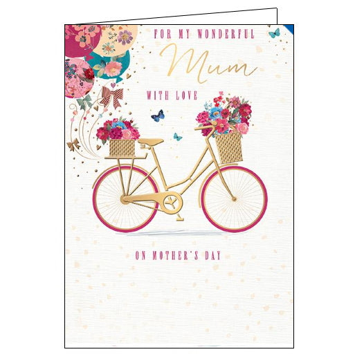 This lovely Mother's Day card is decorated with a pink and gold bicycle, with flowers and butterflies overflowing from baskets on the front and back. Text on the front of the card reads