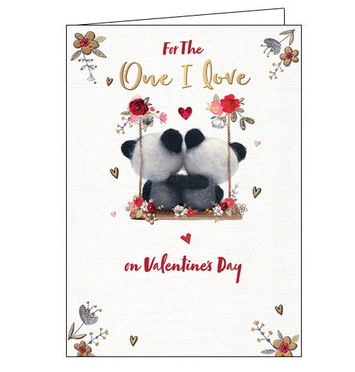 One I Love  - Valentine's CardThis lovely Valentine's card for the One I Love features two teddy bears sitting on a wooden swing with their arms around each other. The swing is decorated with red roses and gold foil hearts. The text on the front of the card reads