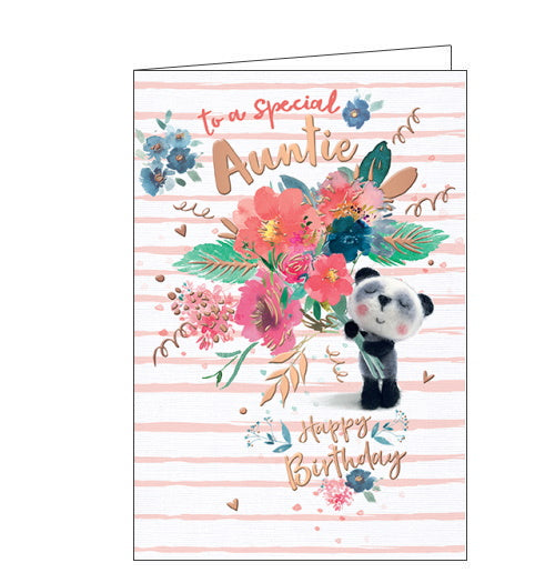 This very cute birthday card for a special Auntie features a teddy bear holding out a HUGE bouquet of flowers. The text on the front of the card reads