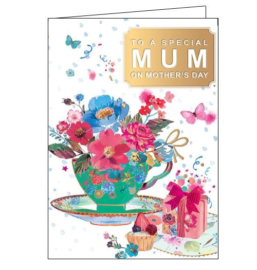 This lovely Mother's Day card is decorated with a beautiful china teacup overflowing with flowers. Text on the front of the card reads