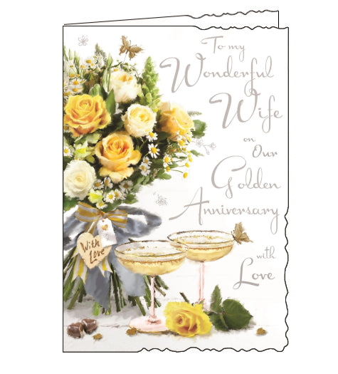 Jonny Javelin cards combine detailed illustrations with heartfelt messages. This Golden Anniversary card for a very special wife is illustrated with a table set with a bouquet of cream and yellow roses and two champagne coupes filled with fizz. The text on the front of the card reads