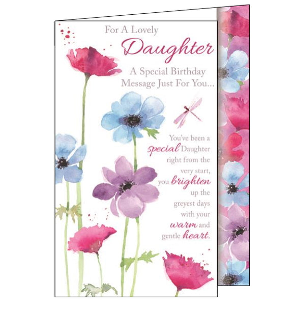 This lovely birthday card for a special daughter is decorated with a pink dragonfly flitting around colourful flowers. The text on the front of the card reads