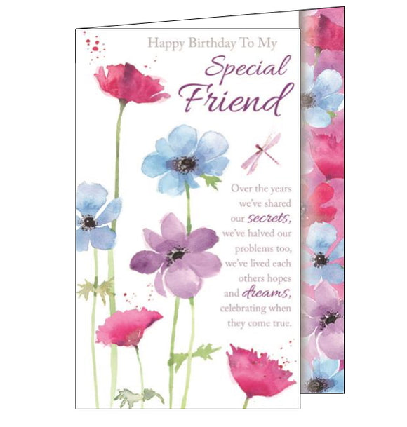 This lovely birthday card for a special friend  is decorated with a pink dragonfly flitting around colourful flowers. The text on the front of the card reads