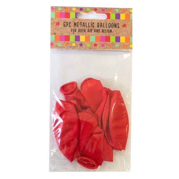 Metallic Red - Pack of 6 Uninflated Balloons