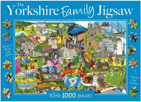 This 1,000 piece family jigsaw, illustrated by Kate Davies, Sarah Wimperis and Stephen Prosser, is a celebration of all things Yorkshire. Featuring images of the Brontes', York Minster, Afternoon Tea at Betty's, a Viking and the Yorkshire flag - what other Yorkshire icons and locations can you spot?