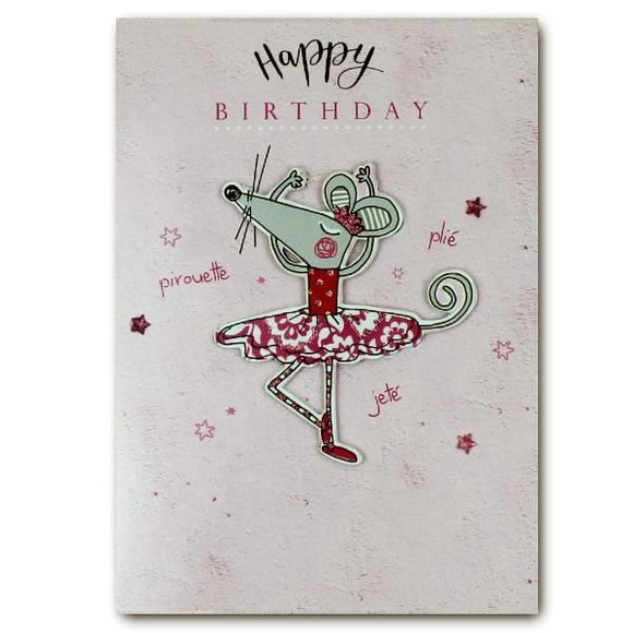 Yours Truly happy birthday ballerina mouse birthday cards for kids Nickery Nook
