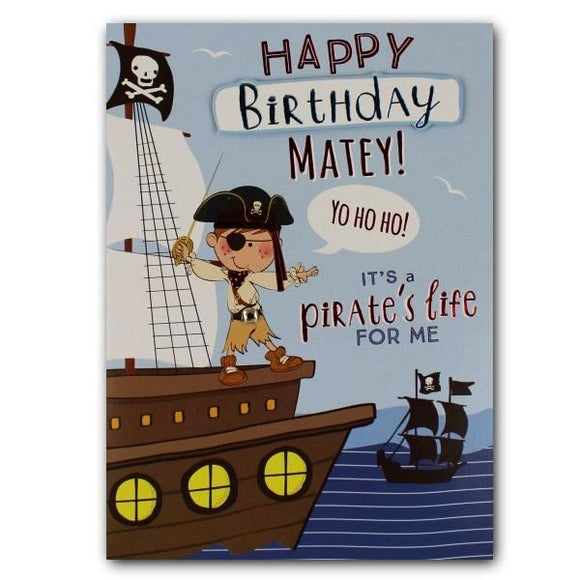 Yours Truly happy birthday matey pirates birthday cards for kids Nickery Nook