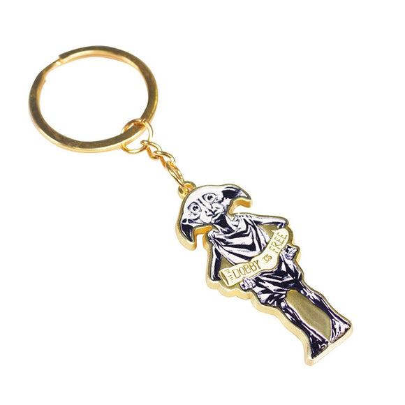 This Harry Potter keyring features a black and white illustration of Dobby the house elf, holding an enamel-painted sock that reads