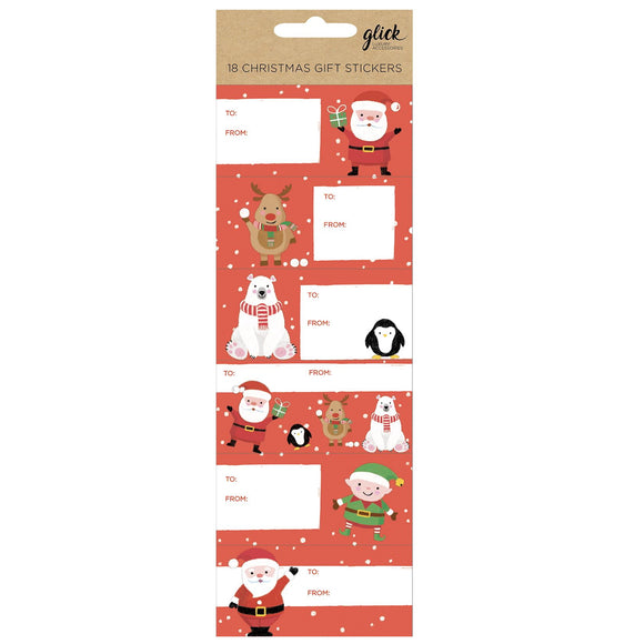 This packet of 18 Christmas gift tag stickers are perfect for gifts being sent by post, or just to add a label that won't fall off. Each sticker is decorated with a smiling Father Christmas or one of his elf and animals helpers, and has space for both the giver and recipients names.  Each sticker measures approximately 8cm x 4cm