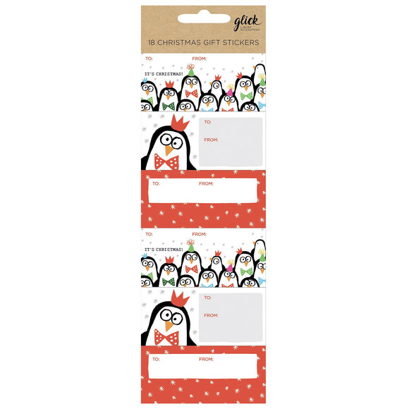 This packet of 18 Christmas gift tag stickers are perfect for gifts being sent by post, or just to add a label that won't fall off. Some of the stickers are decorated with doodled penguins, others with doodled snowflakes. Each sticker has space for the giver and recipients names.  Each sticker measures approximately 8cm x 4cm