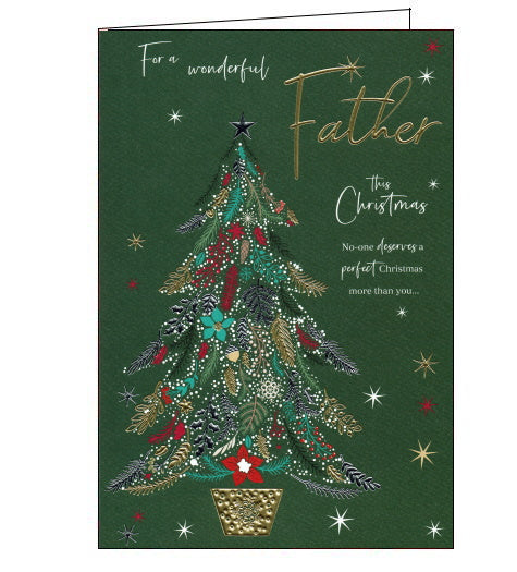 This beautiful Christmas card for a special Father is decorated with a Christmas tree made up of silver and gold branches, white berries and red flowers. Text on the front of the card reads