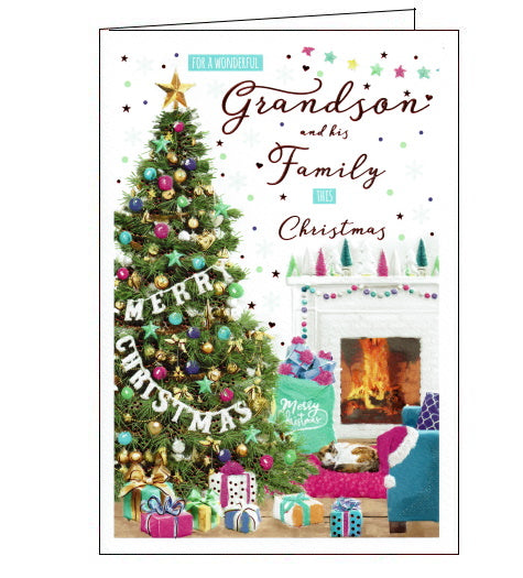 This beautiful Christmas card for a special Grandson and his family is decorated with a scene of a cosy lounge decorated with a beautiful Christmas tree, garlands on the fireplace and piles of presents! Text on the front of the card reads