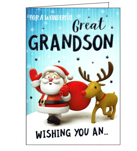 This beautiful Christmas card for a special Great Grandson is decorated with a cartoon Father Christmas and Rudolph the Red Nosed Reindeer walking through the snow. Text on the front of the card reads