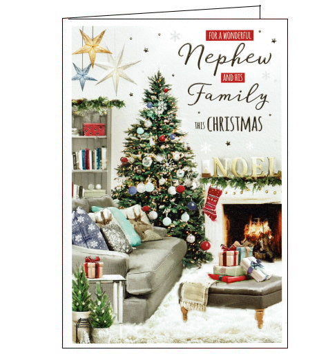 This beautiful Christmas card for a special Nephew and family is decorated with a scene of a cosy lounge decorated with a beautiful Christmas tree, garlands and presents. Text on the front of the card reads