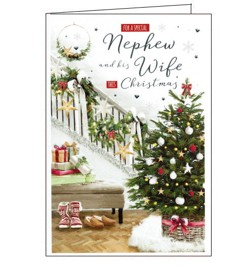 This beautiful Christmas card for a special Nephew and his Wife is decorated with a scene of a cosy hallway decorated with a beautiful Christmas tree, garlands on the stairs and a pile of presents. Text on the front of the card reads