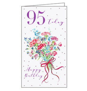icg pink flowers for her 95th birthday card