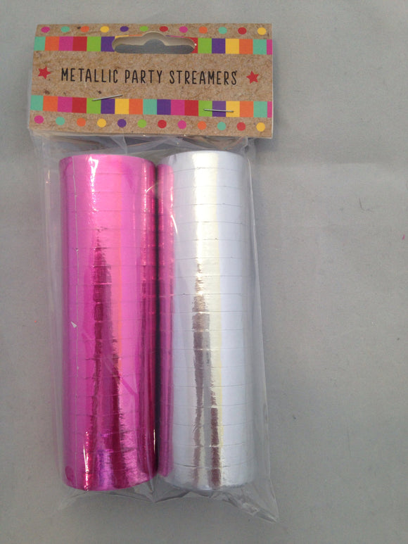 Metallic Party Streamers Pink And Silver