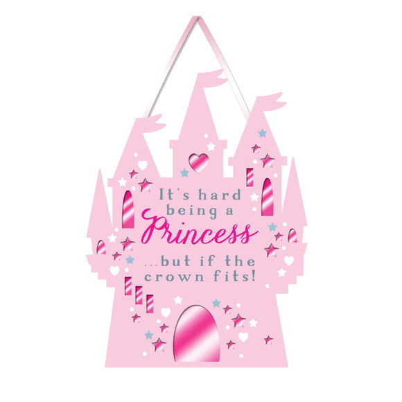 This pink castle shaped plaque - complete with flags and turrets - is perfect for any little princess looking to claim her kingdom. Grey and pink text on the plaque reads
