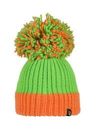 This knitted bobble hat has a light green base with a thick orange band at the bottom. The hat is topped with a magnificent matching green and orange bobble.  These hats stretch and so are suitable for adults and children over the age of 5.