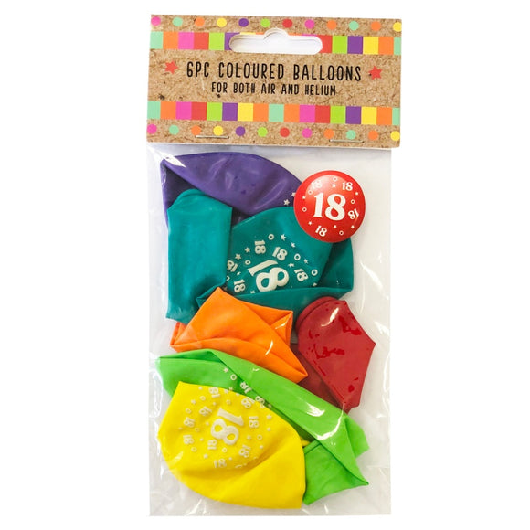 This pack of 6 uninflated balloons is ideal for any 18th birthday celebration. Designed to inflate to 11