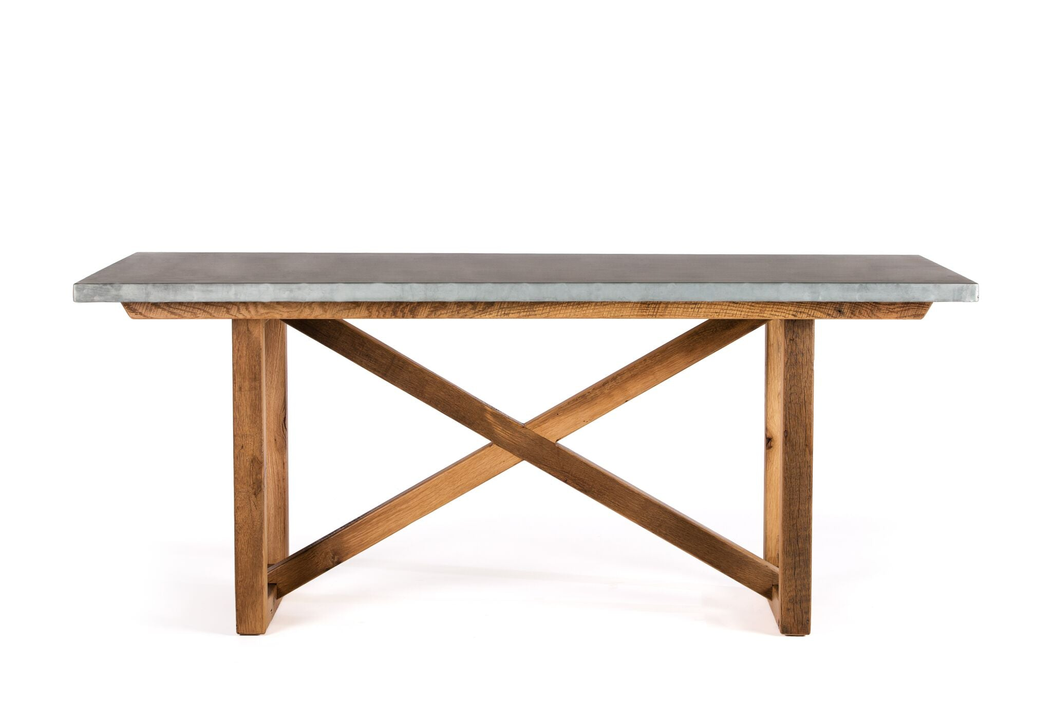 "Zinc Rectangular Table | Astor Table | CLASSIC | Natural Ash | CUSTOM SIZE L 60 W 37 H 30 | 1.5"" StandardPlain, No Rivets kingston-krafts-zinc-tables."