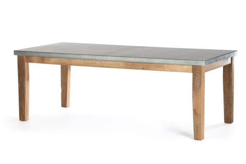 "Zinc Rectangular Table | Cambridge Table | CLASSIC | Natural Reclaimed Oak | 108""L 40""W 30""H 