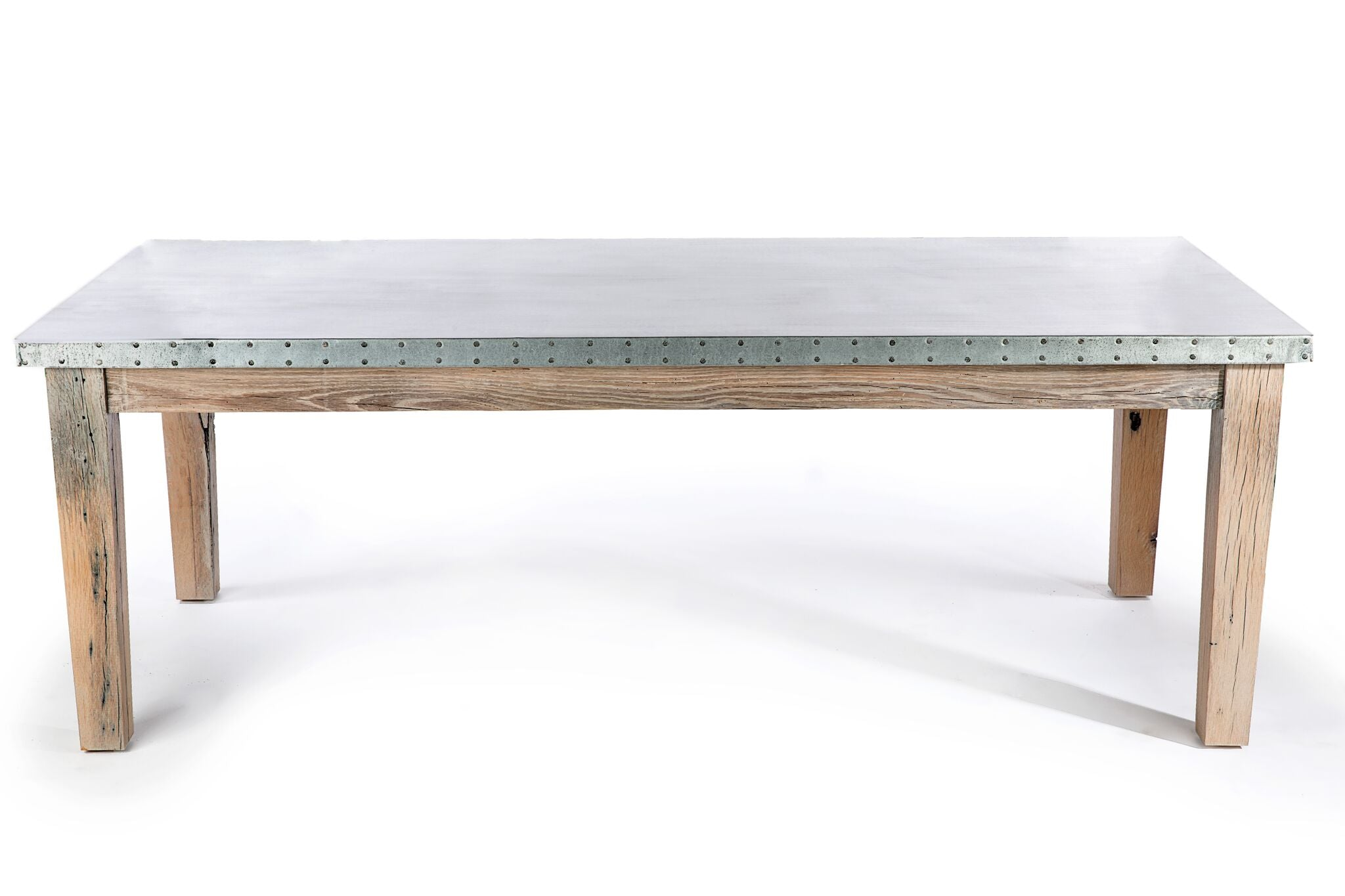 Zinc Rectangular Table | Cambridge Table | CLASSIC | Americana on Reclaimed Oak | CUSTOM SIZE | 2"