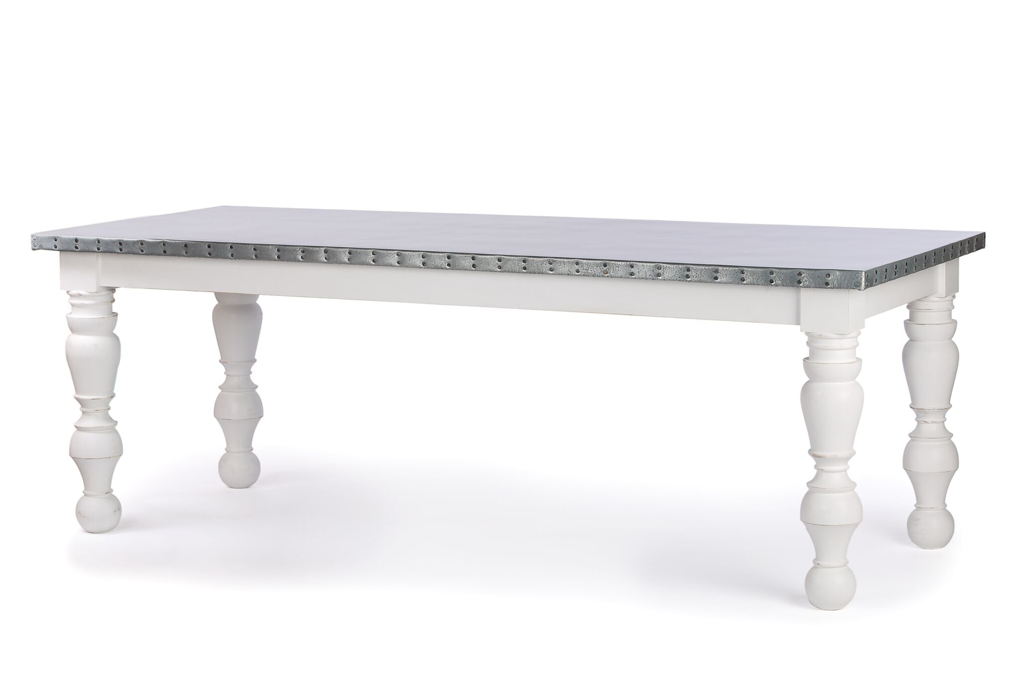 "Zinc Rectangular Table | Dauphine Table | CLASSIC | Pure White | 60""L 37""W 30""H 