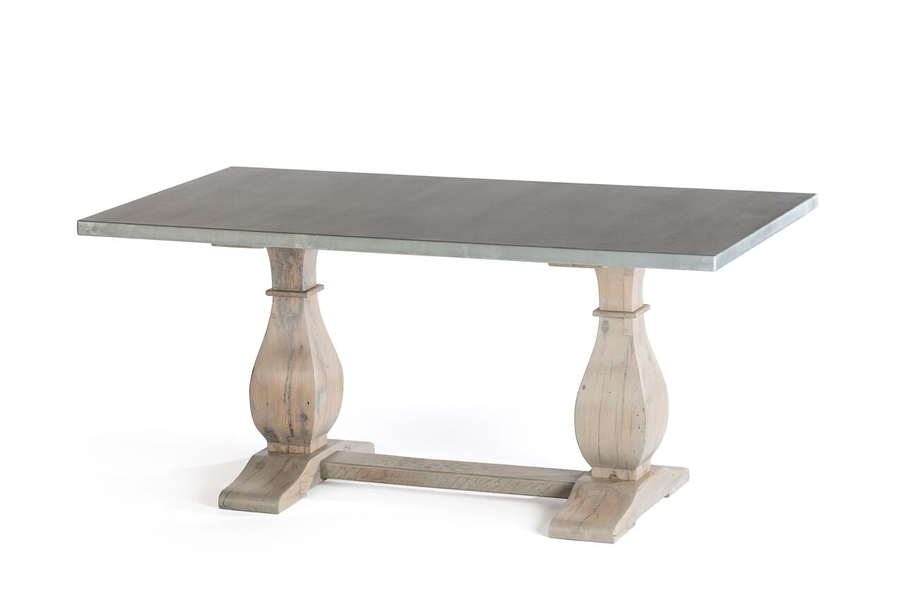 "Zinc Rectangular Table | Dutch Trestle Table | CLASSIC | White Wash on Reclaimed Oak | 60""L 37""W 30""H 