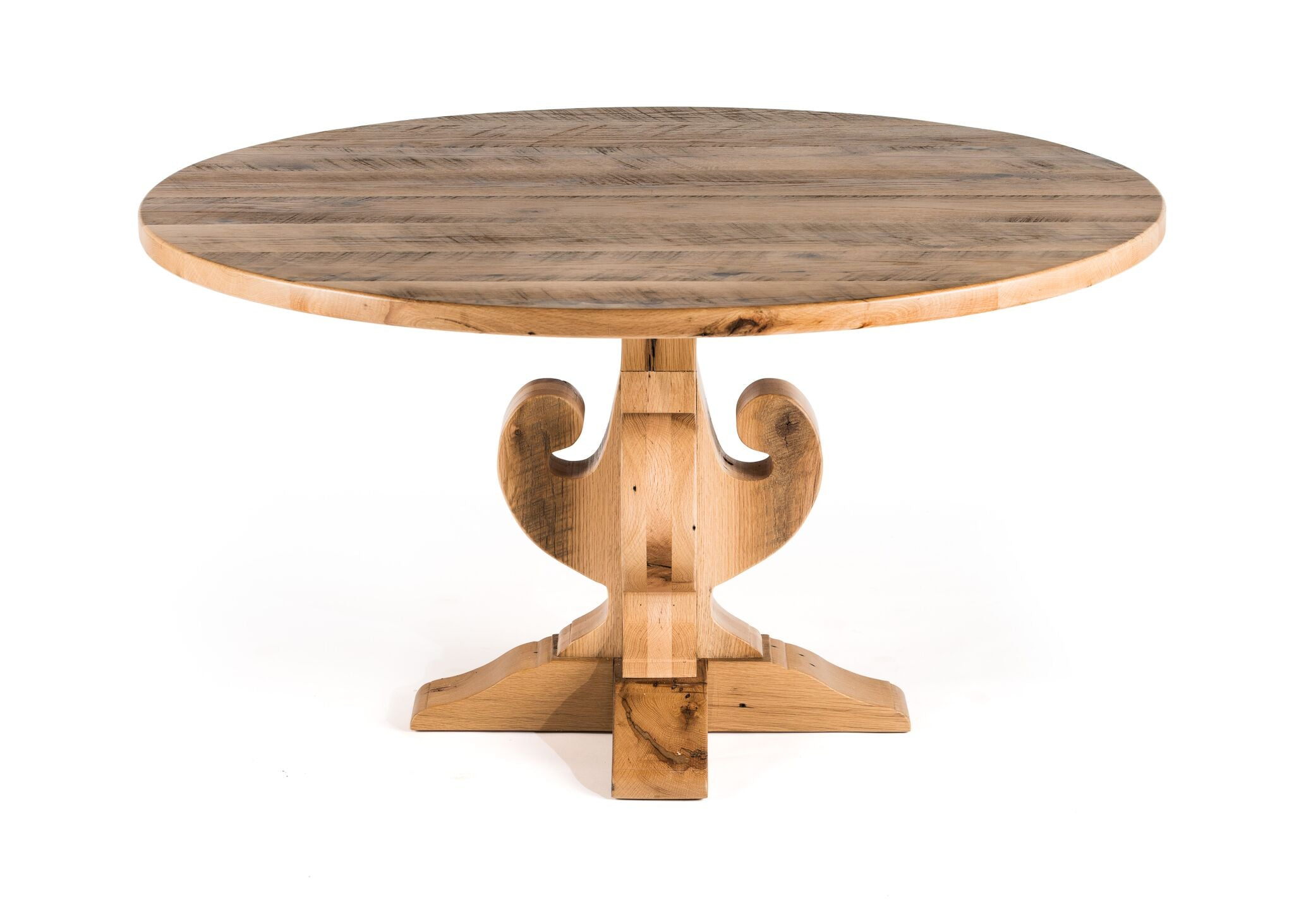 "Round Wood Tables | Fairfield Trestle Table | Natural Ash | Natural Reclaimed Oak | Diameter 42 |  Height 30 | 1.5"" Standard"