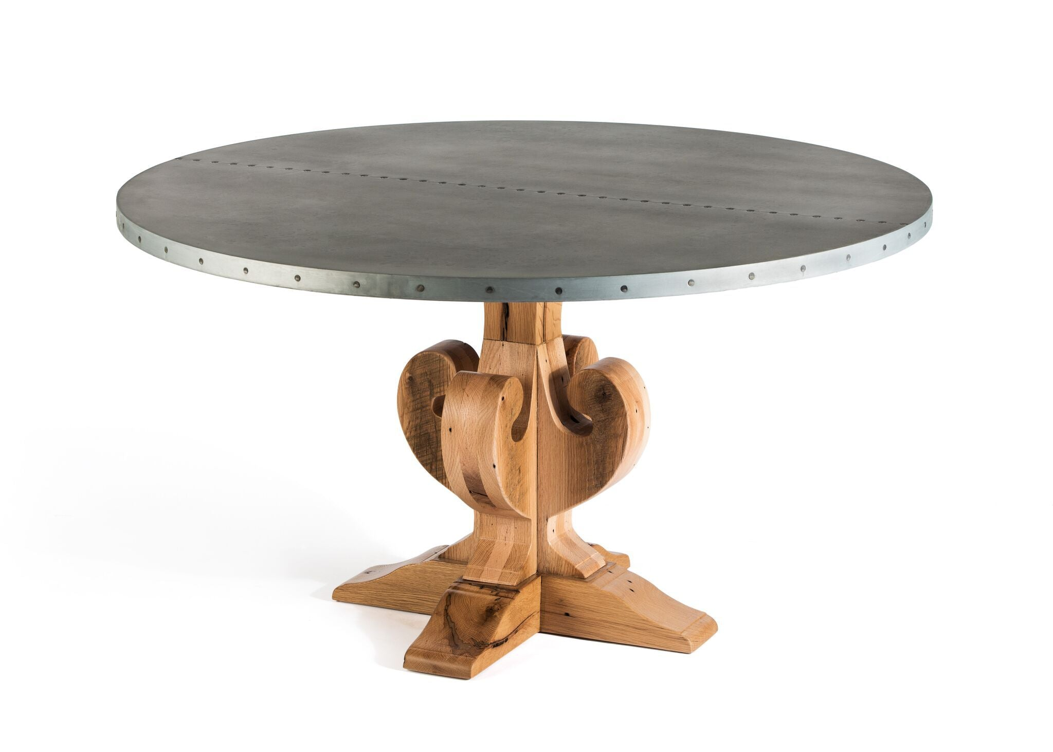 "Zinc Round Tables | French Trestle | CLASSIC | Natural Reclaimed Oak | CUSTOM SIZE L 35 W 30 H 30 | 1.5"" Standard"