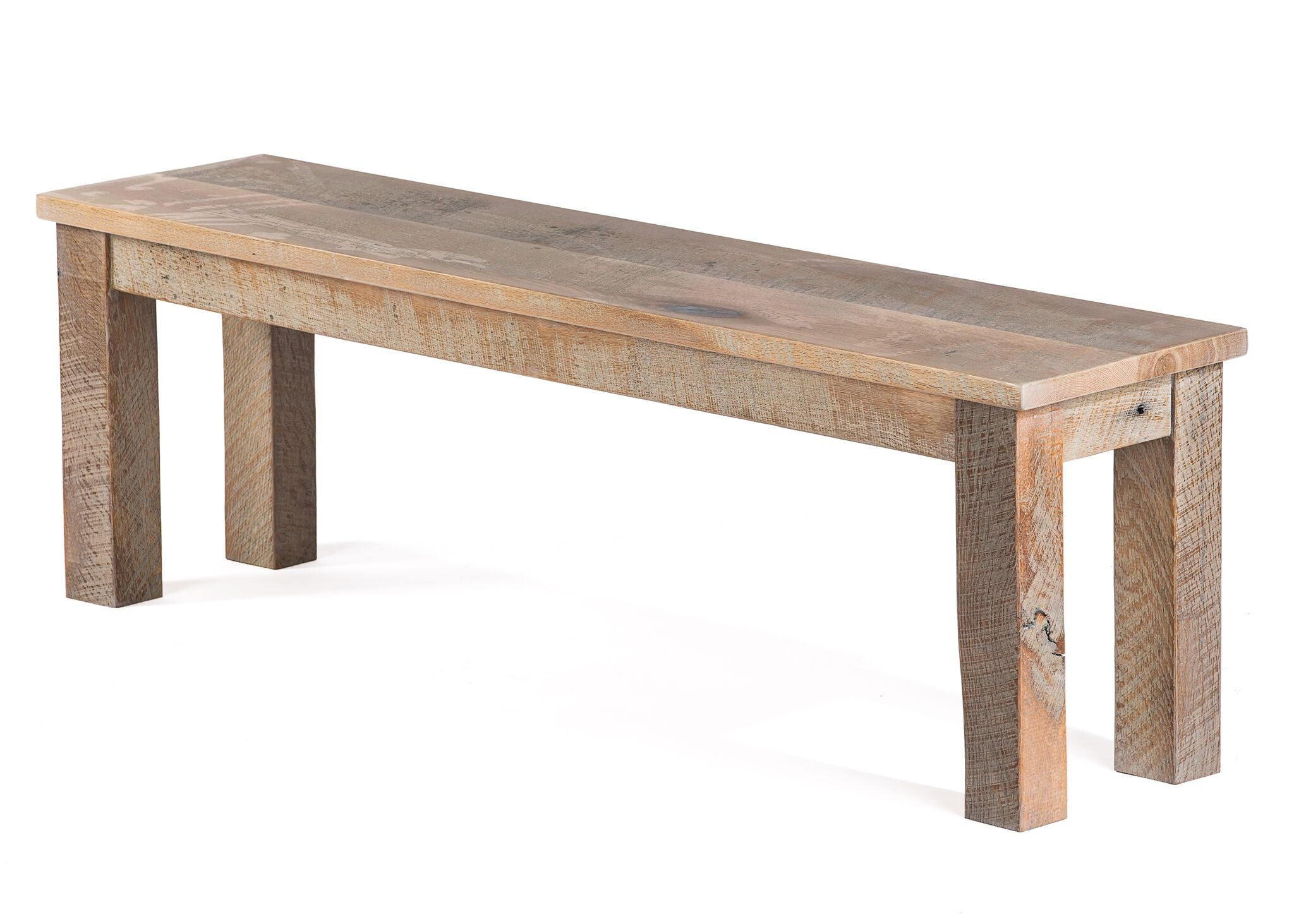 "Wood Benches | Farmhouse Bench | Natural Reclaimed Oak | 60"" LENGTH14"" WIDTH 18"" HEIGHT kingston-krafts-zinc-tables."