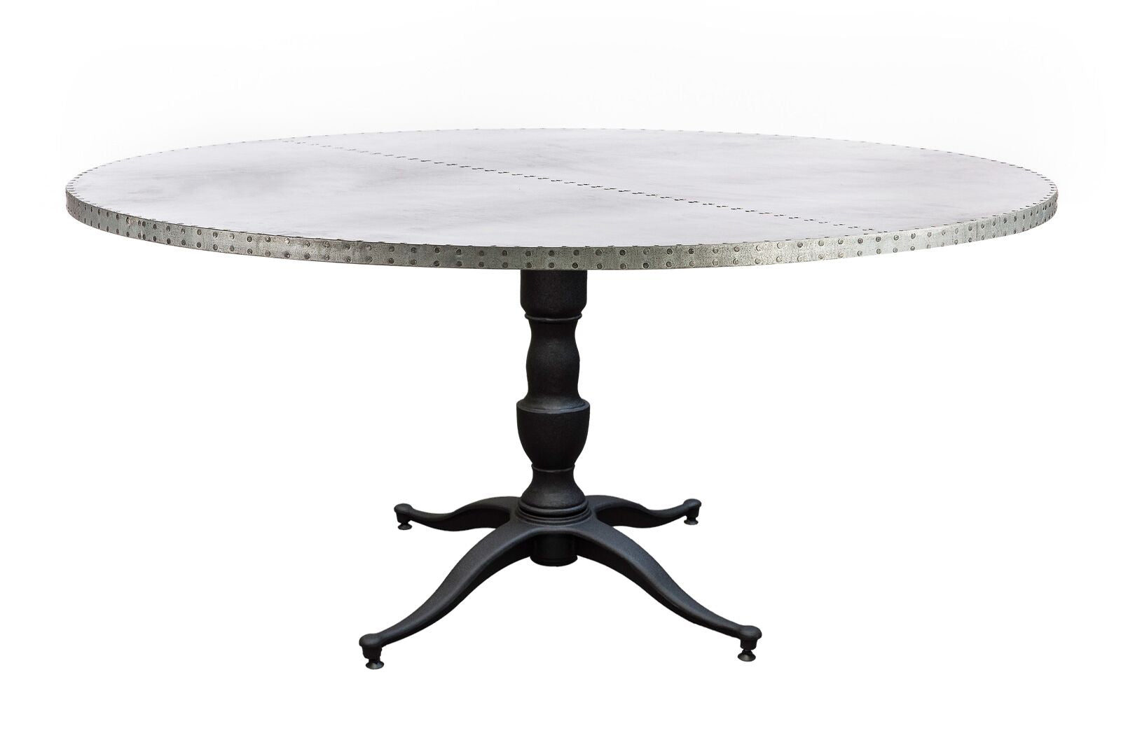 "Zinc Round Tables | Francesca Table | CLASSIC | Black on Poplar | CUSTOM SIZE 36""D 30""H 