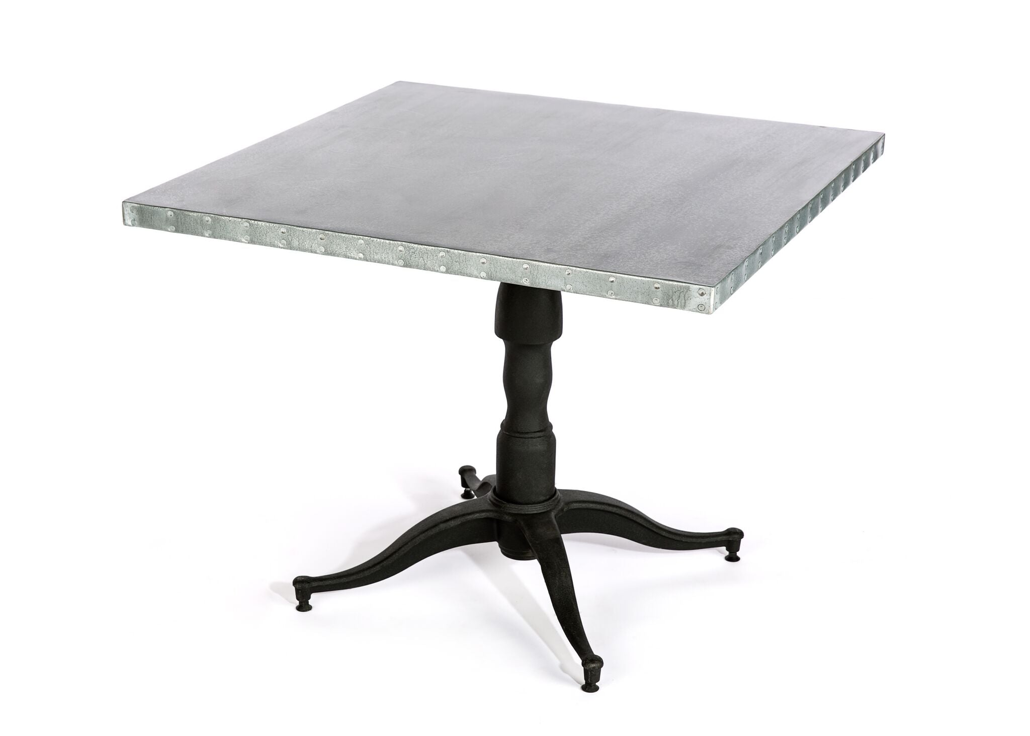 "Zinc Square Tables | Francesca Table | CLASSIC | Black on Poplar | CUSTOM SIZE 42""D 30""H 