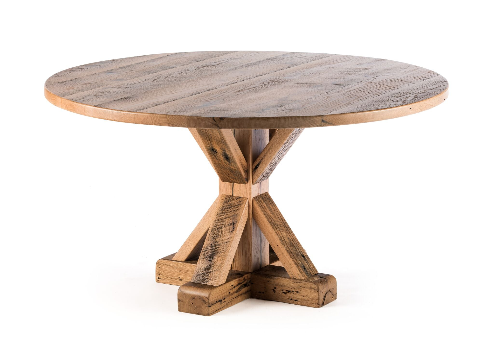 "Round Wood Tables | French Trestle Table | Weathered Grey on Reclaimed Oak | Weathered Grey on Reclaimed Oak | 60""D 30""H 