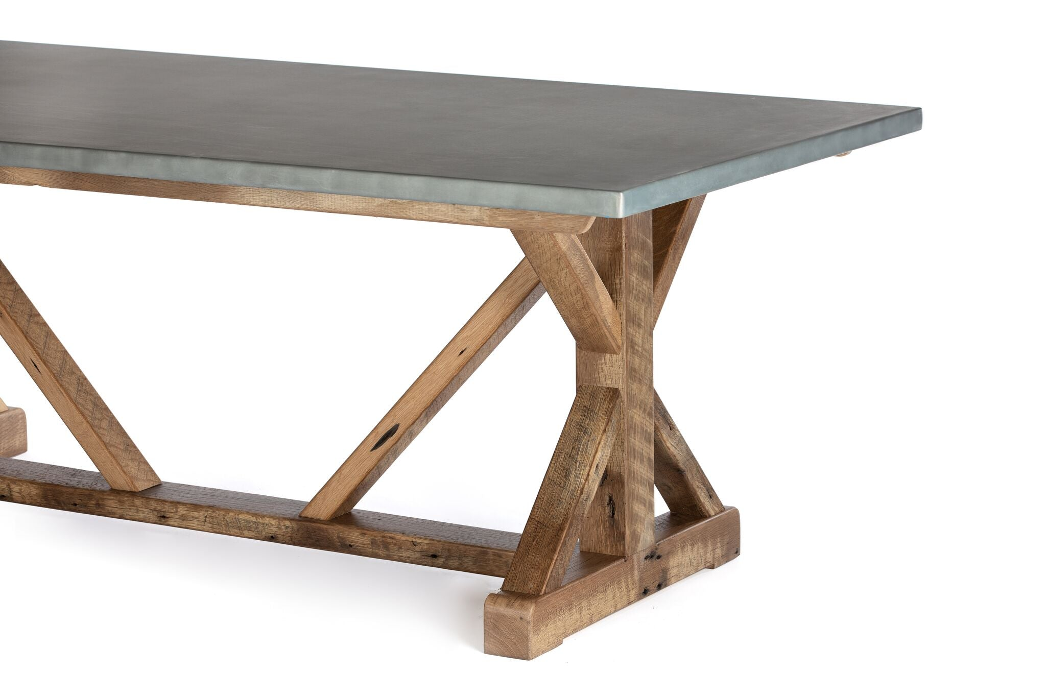 "Zinc Rectangular Table | French Trestle Table | CLASSIC | Driftwood Grey on Reclaimed Oak | CUSTOM SIZE 76""L 34""W 36""H 