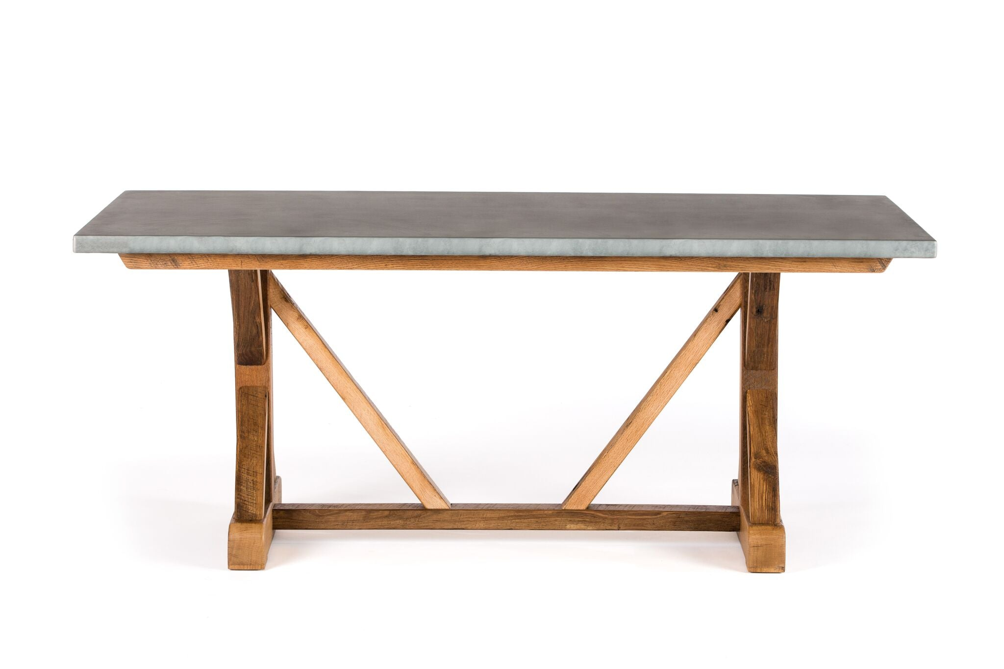 "Zinc Rectangular Table | French Trestle Table | CLASSIC | Weathered Grey on Reclaimed Oak | 84""L 39""W 30""H 