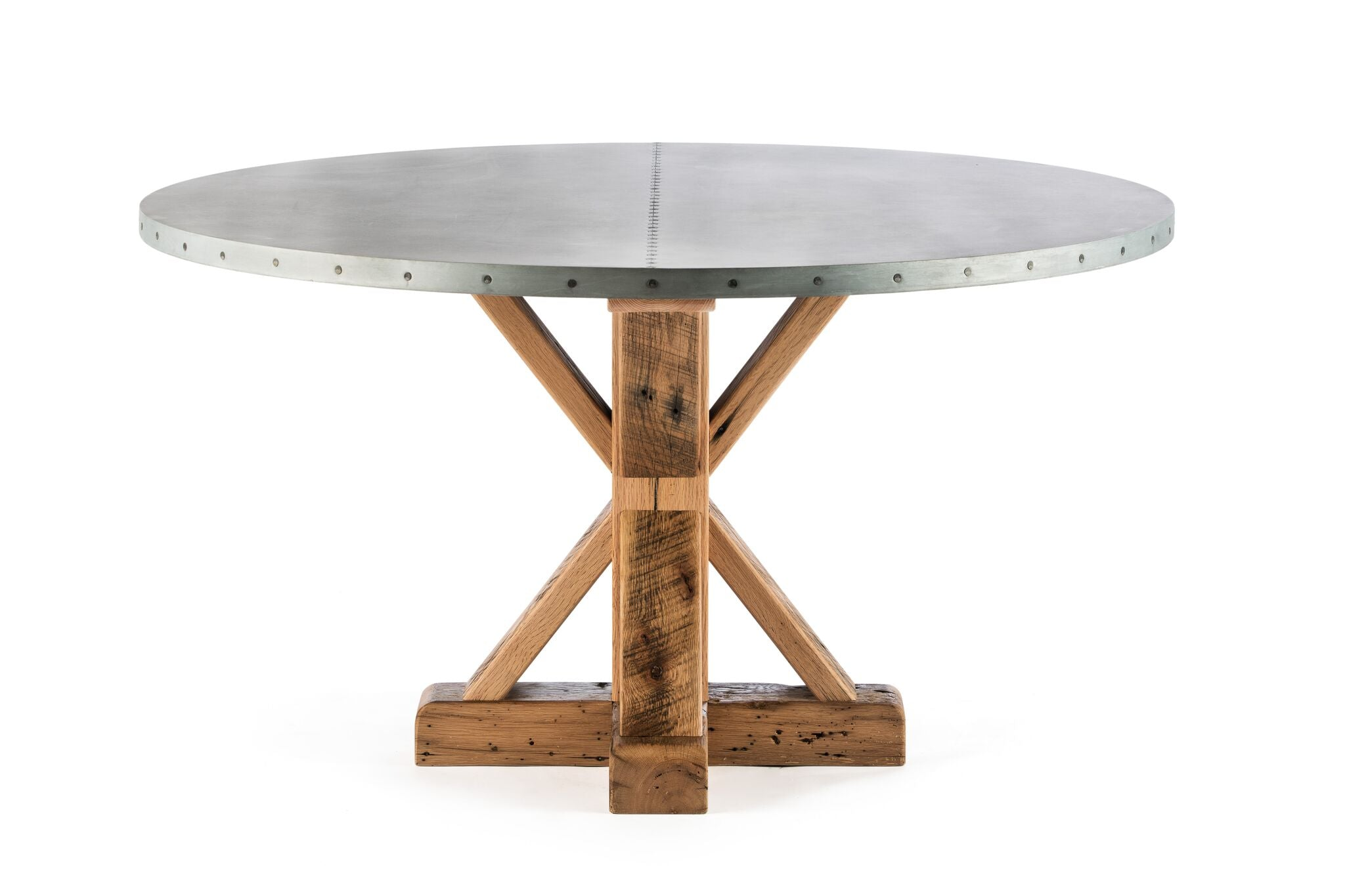 "Zinc Round Tables | French Trestle Table | CLASSIC | Weathered Grey on Reclaimed Oak | CUSTOM SIZE D 48 H 29 | 1.5"" Standard 
