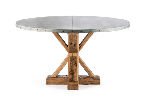 "Zinc Round Tables | French Trestle Table | CLASSIC | Black on Poplar | CUSTOM SIZE D 48 H 30 | 1.5"" Standard 