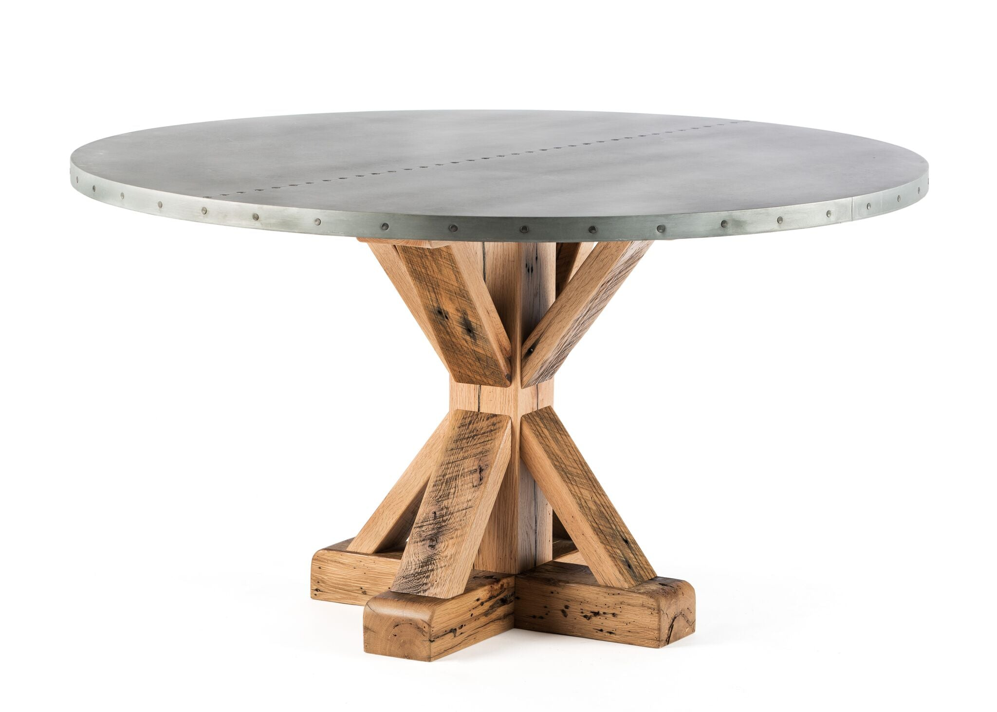 "Zinc Round Tables | French Trestle Table | CLASSIC | Natural Reclaimed Oak | CUSTOM SIZE 44""D 30""H 