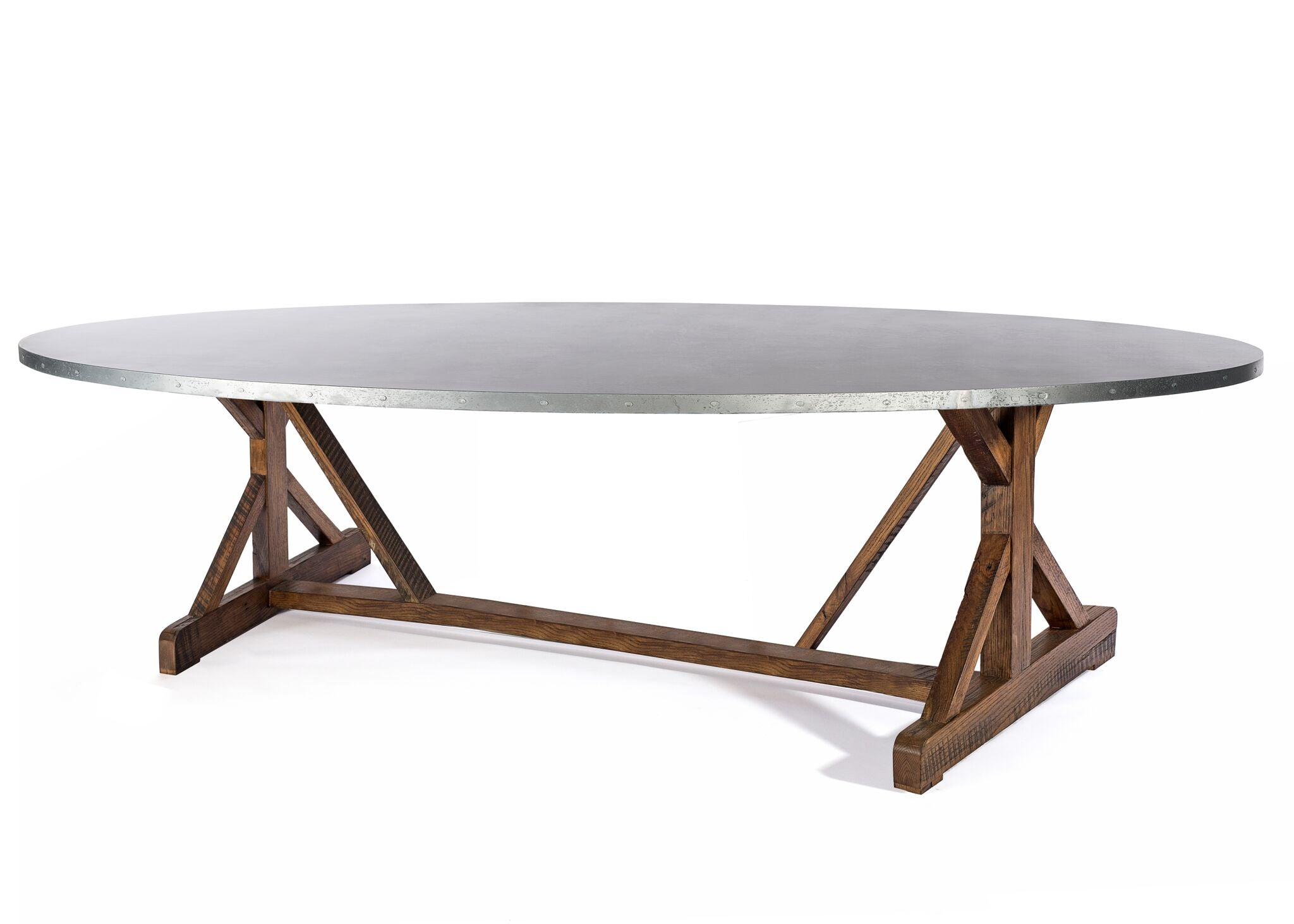 "Zinc Oval Tables | French Trestle Table | BLACKENED BRONZE | Weathered Grey on Reclaimed Oak | CUSTOM SIZE L 120 W 43 H 30 | 1.5"" Standard 