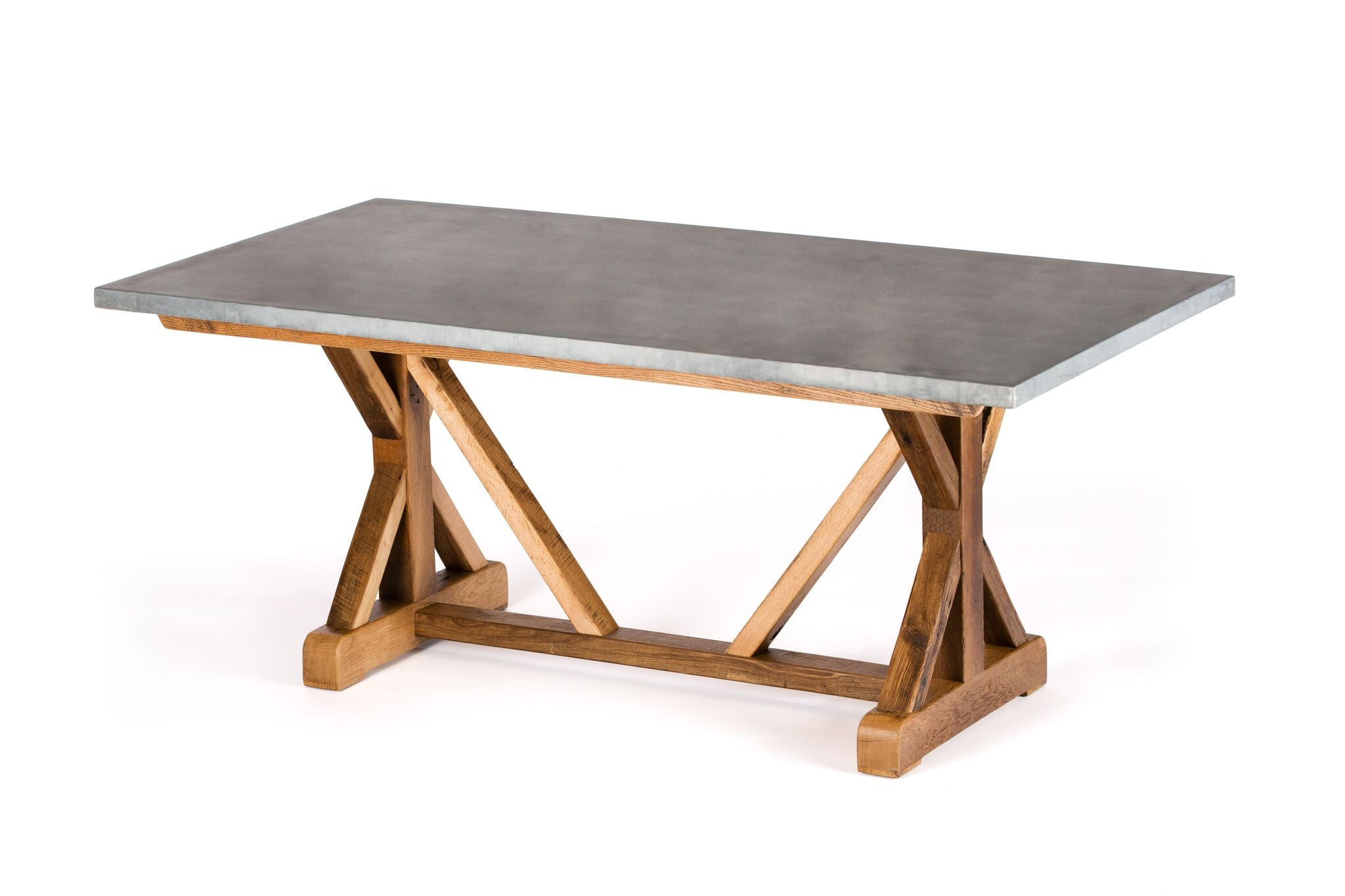 "Zinc Rectangular Table | French Trestle Table | BLACKENED BRONZE | Weathered Grey on Reclaimed Oak | CUSTOM SIZE 96""L 40""W 30""H 