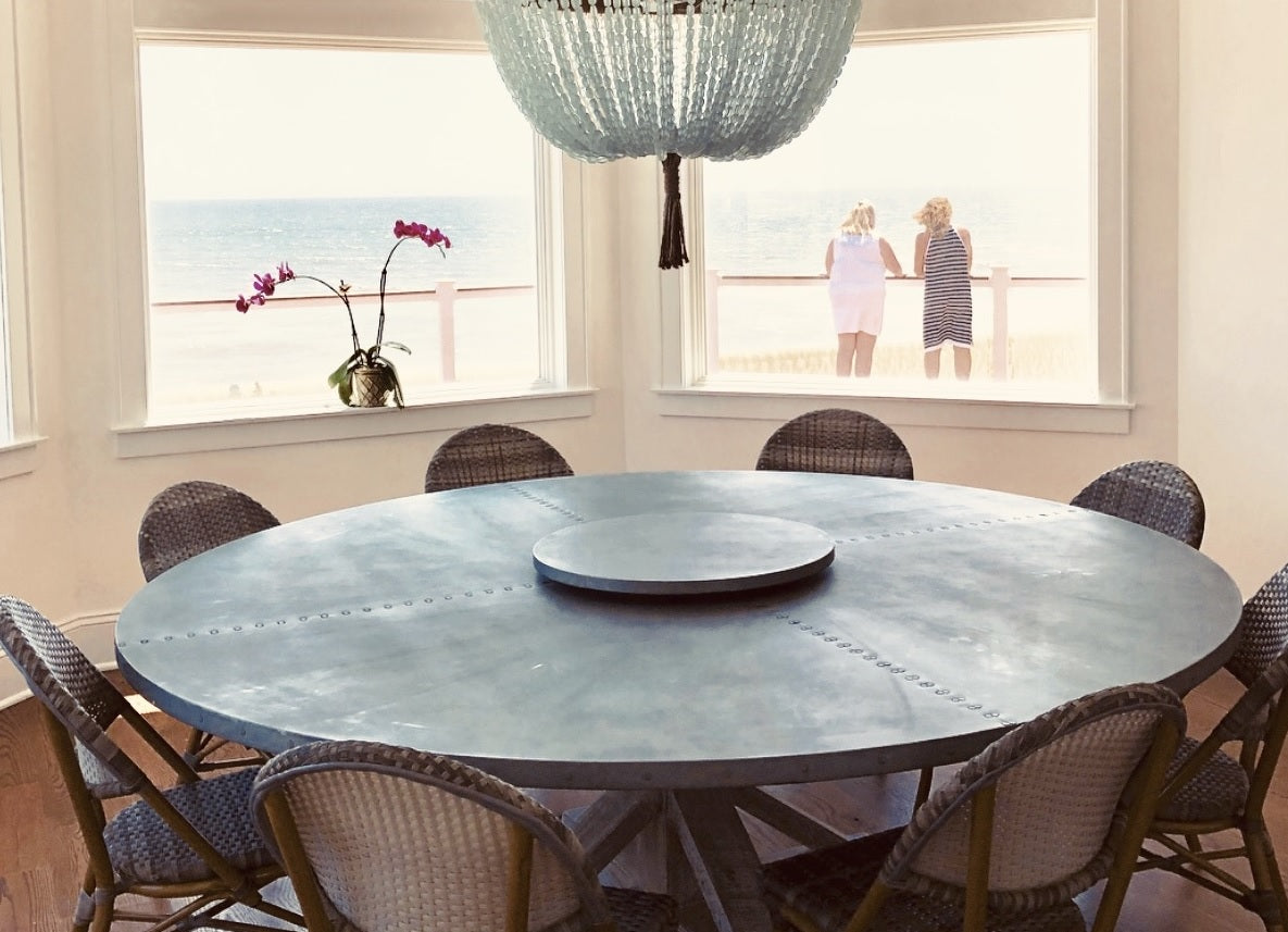 "Zinc Round Tables | French Trestle Table | CLASSIC | Natural Reclaimed Oak | CUSTOM SIZE D 54 H 30 | 1.5"" Standard 