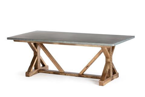 "Zinc Rectangular Table | French Trestle Table | CLASSIC | Driftwood Grey on Reclaimed Oak | 120""L 40""W 30""H 
