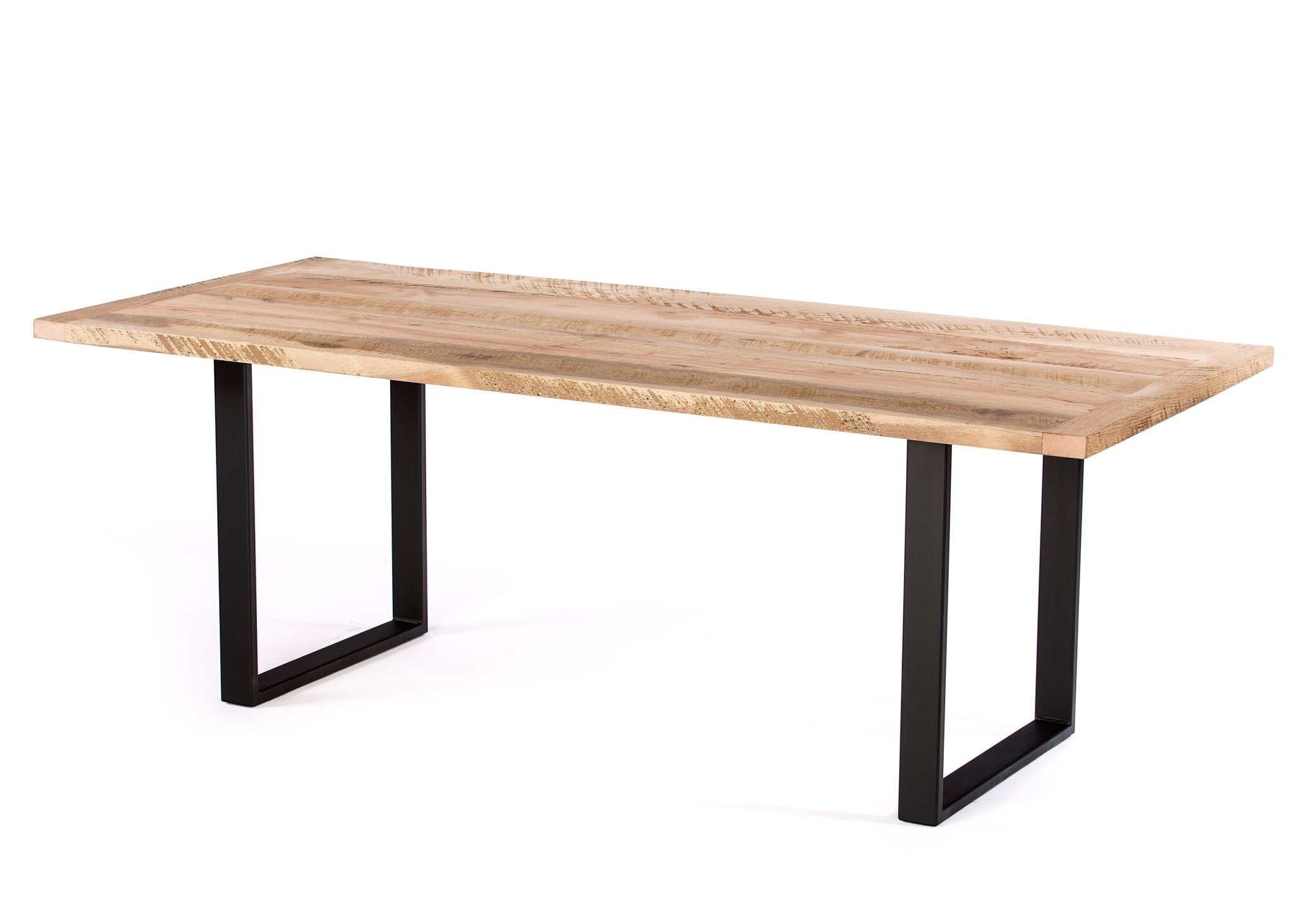 "Wood Tables | Maddox Table | Natural Reclaimed Oak | Black | CUSTOM SIZE L 108 W 30 H 30 | 2"" kingston-krafts-zinc-tables."